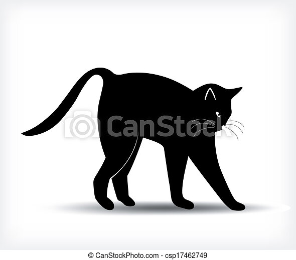 Silhouette of a black cat. Vector - csp17462749