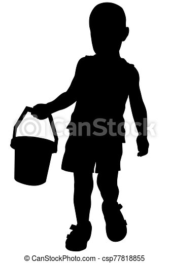 Silhouette of a boy who holds a small bucket in his hand - csp77818855