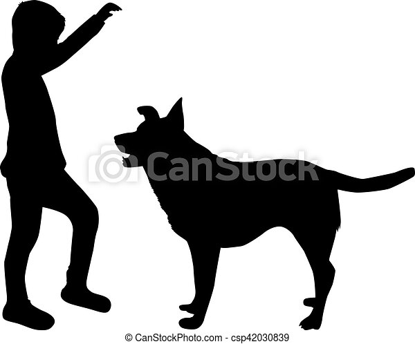 silhouette of a boy with a dog vectors search clip art rh canstockphoto com dog vector art dog vectors free download