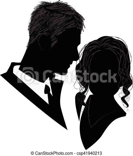 Silhouette of a Bridal Couple - csp41940213