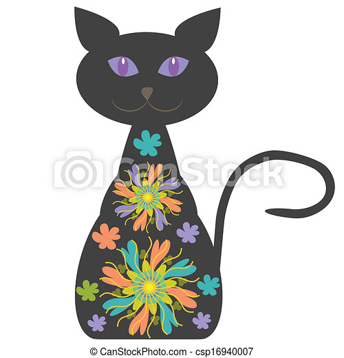 Silhouette of a cat with bright flowers for your design - csp16940007