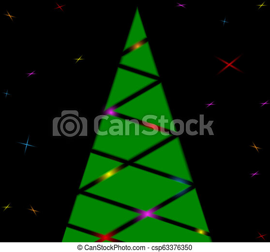 Silhouette of a Christmas tree with lights and stars - csp63376350