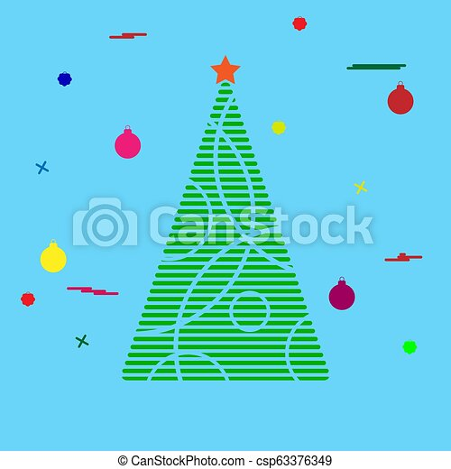 Silhouette of a Christmas tree with festive tinsel - csp63376349