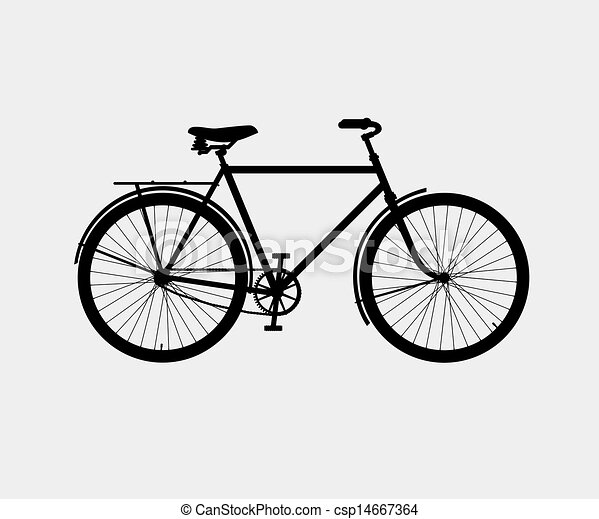 silhouette of a classic bike - csp14667364