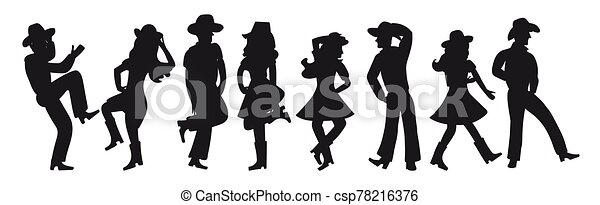 Silhouette of a couple dancing a country western on a white isolated background. All girls and boys are dancing an incendiary American dance. Four funny pairs of people in black. Cowboy hats, boots and dance moves. - csp78216376