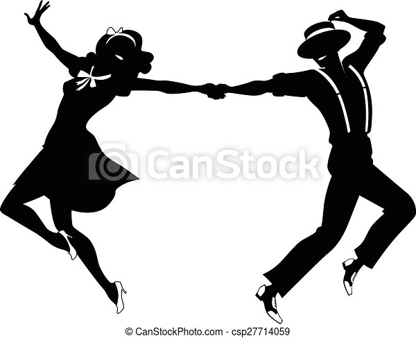 Silhouette of a couple dancing - csp27714059