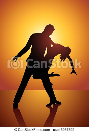 Silhouette of a couple dancing - csp45967899