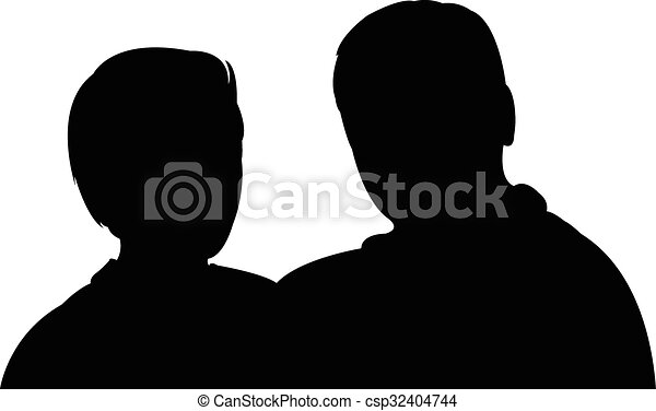 silhouette of a couple  - csp32404744