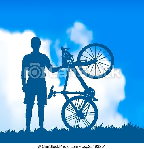 silhouette of a cyclist - csp25493251