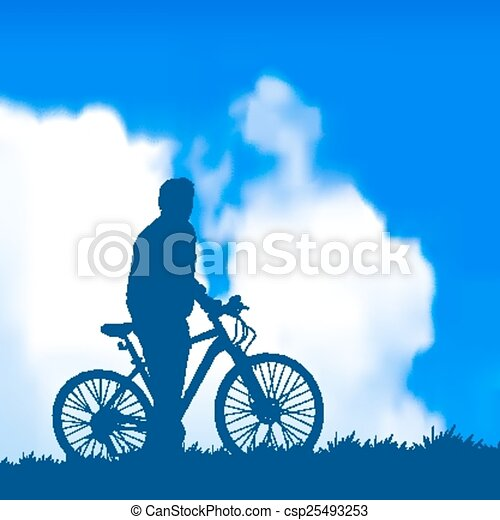 silhouette of a cyclist - csp25493253