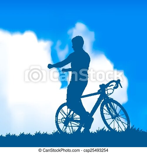 silhouette of a cyclist - csp25493254