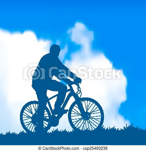 silhouette of a cyclist - csp25493238