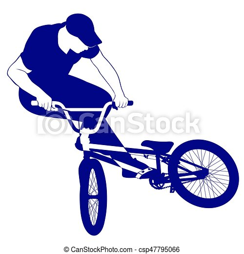 silhouette of a cyclist jumping on a bicycle silhouette of clip rh canstockphoto ca cycling clipart cycling clipart