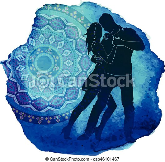 Silhouette of a dancing couple. - csp46101467