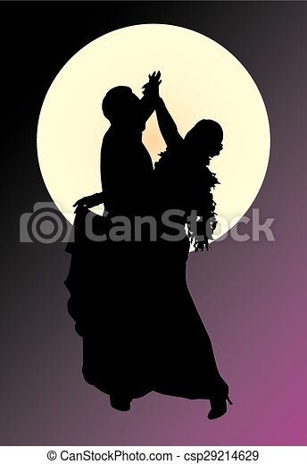 silhouette of a dancing couple - csp29214629