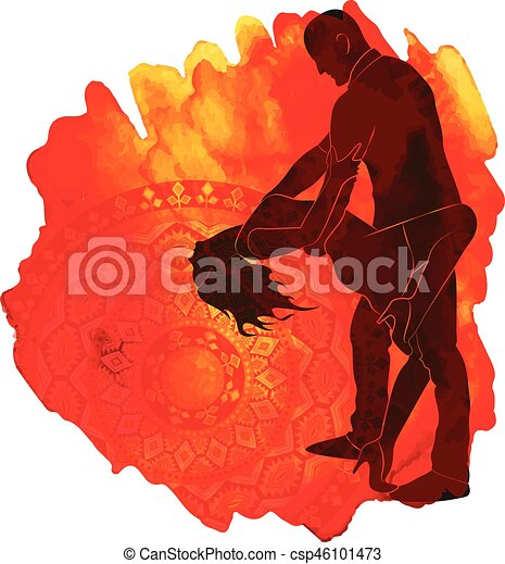 Silhouette of a dancing couple. - csp46101473