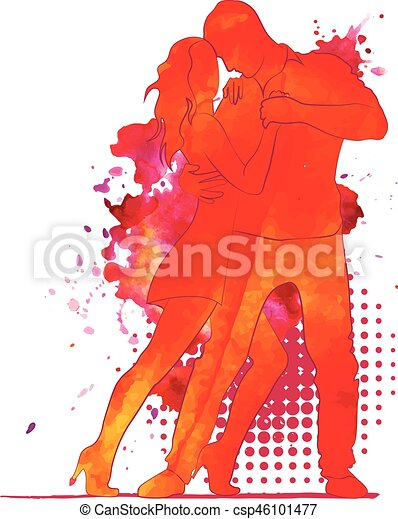 Silhouette of a dancing couple. - csp46101477