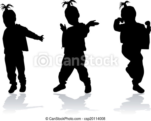 Silhouette of a dancing girl - csp20114008