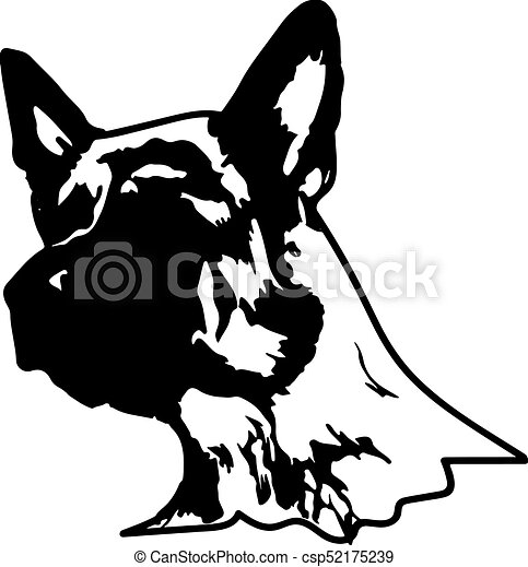 silhouette of a dog vector illustration of german shepherd rh canstockphoto com german shepherd clipart black white german shepherd clip art free