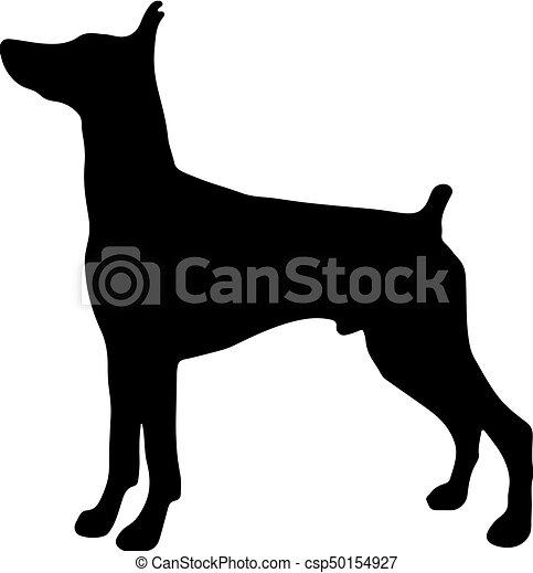 silhouette of a dog vector illustration of doberman pinscher rh canstockphoto com dog vector png dog vector free download