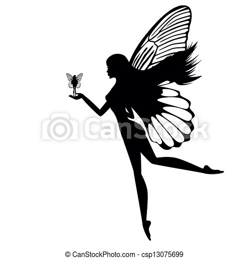 Silhouette of a fairy isolated - csp13075699