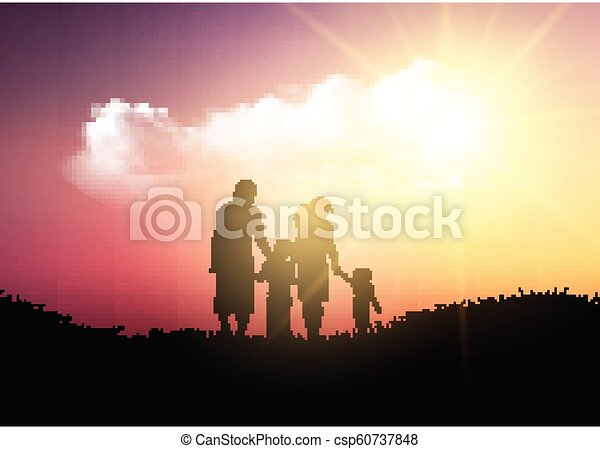 Silhouette of a family walking against a sunset sky - csp60737848