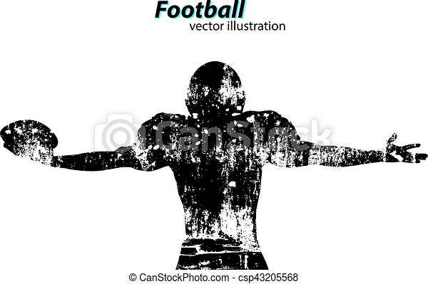 silhouette of a football player. Rugby. American footballer - csp43205568