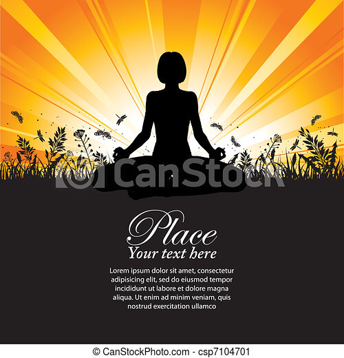 Silhouette of a Girl in Yoga pose - csp7104701