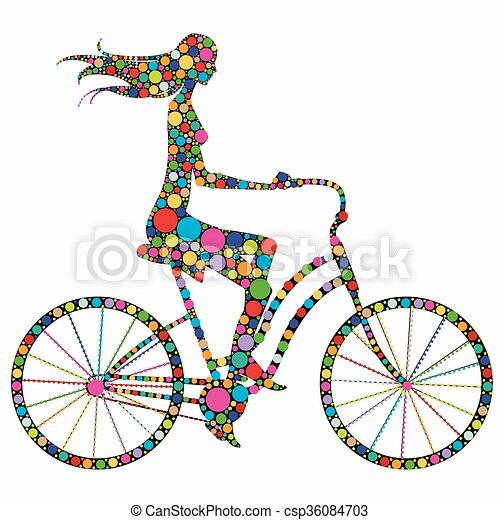 silhouette of a girl on a bicycle - csp36084703