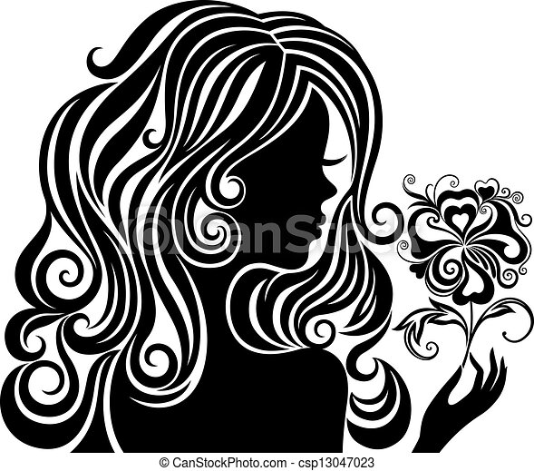 Silhouette of a girl with a flower black and white vector silhouette of a girl with a flower csp13047023 mightylinksfo Gallery