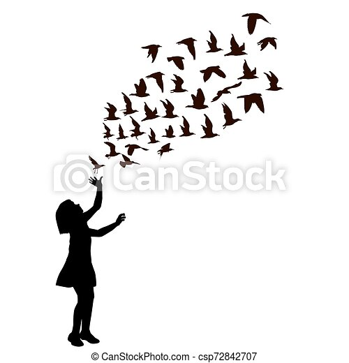 Silhouette of a girl with birds flying - csp72842707