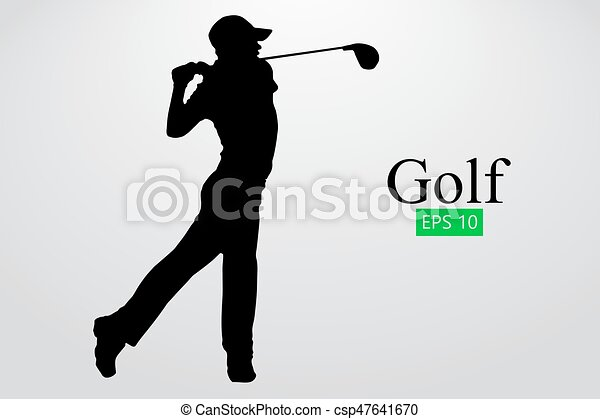 silhouette of a golf player background and text on a separate layer color can be changed in one