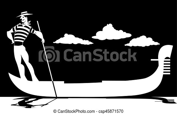 Silhouette of a gondolier - csp45871570