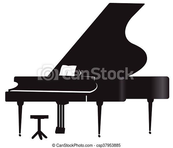 Silhouette of a grand piano. Illustration of silhouette a grand ...