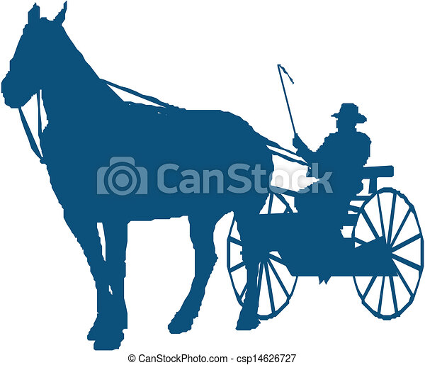 vector silhouette of a horse and buggy rh canstockphoto com horse and buggy clipart free amish horse and buggy clipart