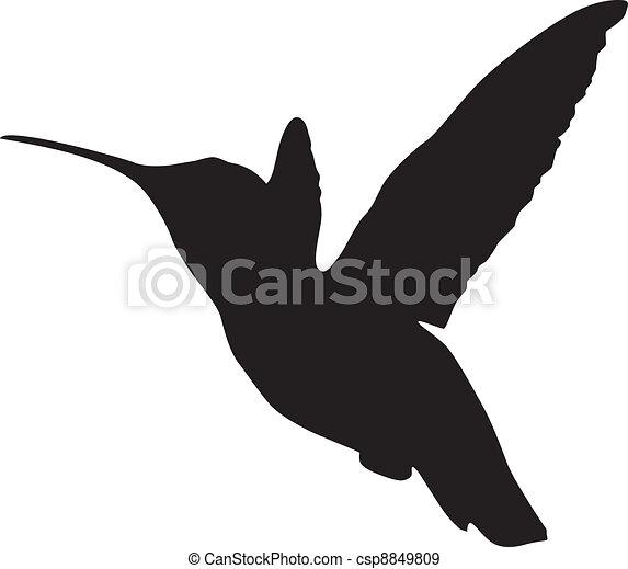Silhouette of a hummingbird - csp8849809