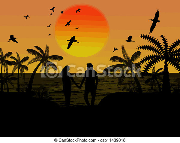 Silhouette of a lovers couple - csp11439018
