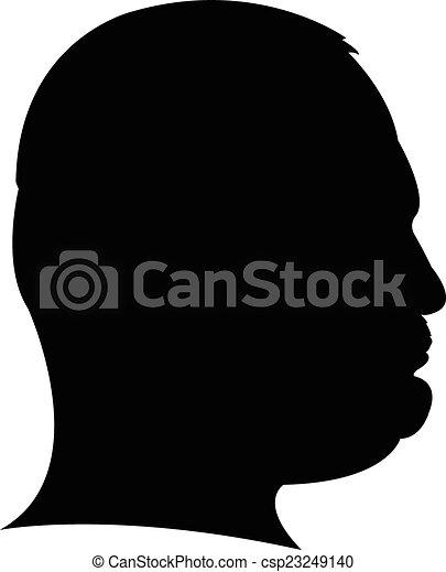 Silhouette of a man head in black,  - csp23249140