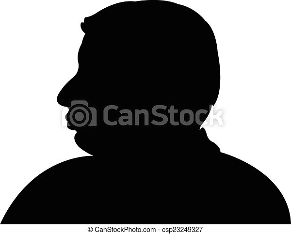 Silhouette of a man head in black,  - csp23249327