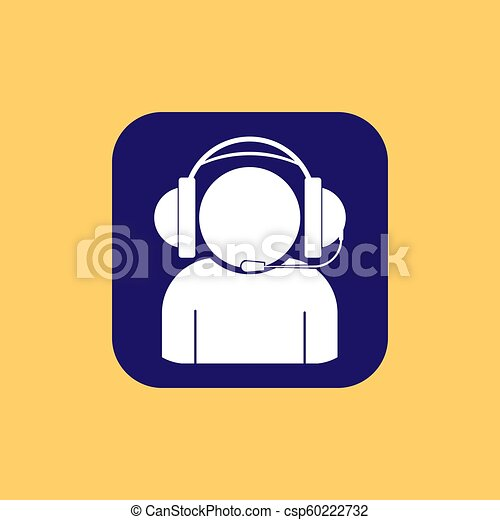 Silhouette of a man in headphones with a microphone on a square button - csp60222732