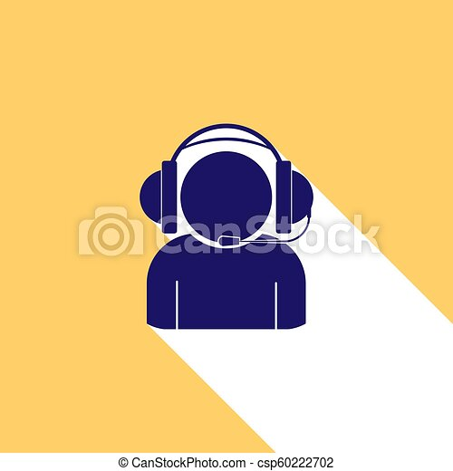 Silhouette of a man in headphones with microphone, long white shadow - csp60222702