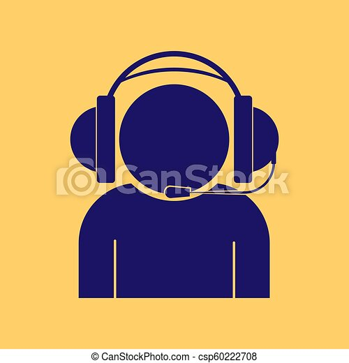 Silhouette of a man in headphones with microphone, yellow background - csp60222708