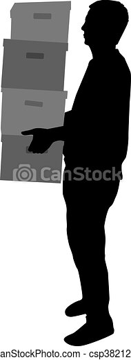 Silhouette of a man with boxes. - csp38212745