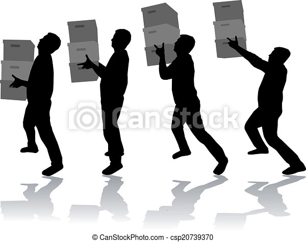 Silhouette of a man with boxes - csp20739370