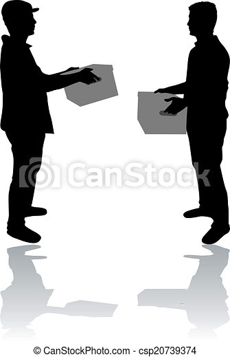 Silhouette of a man with boxes - csp20739374