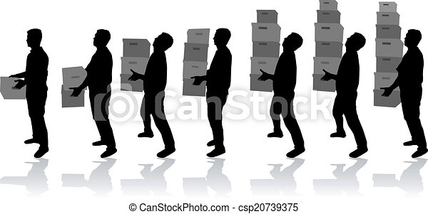 Silhouette of a man with boxes - csp20739375