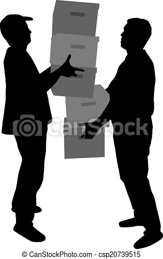 Silhouette of a man with boxes - csp20739515