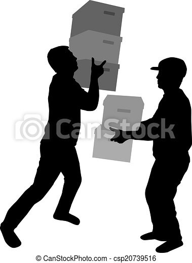 Silhouette of a man with boxes - csp20739516