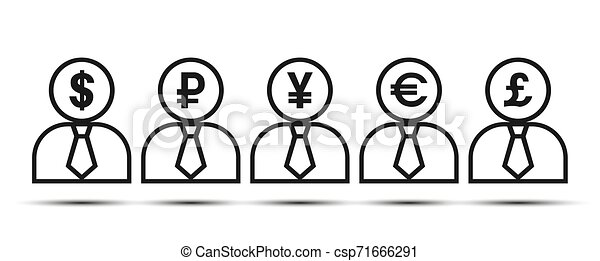 Silhouette of a man with currency symbols. - csp71666291