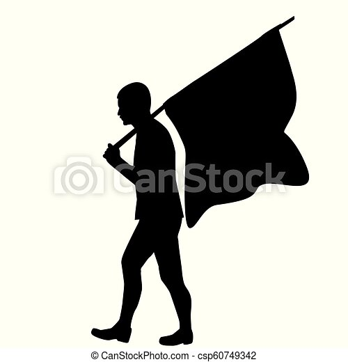 Silhouette of a man with flag - csp60749342